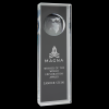 Clear Crystal Rectangle with Globe Clear Optical Crystal Awards