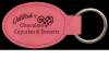 Pink Leatherette Oval Keychain Key Rings