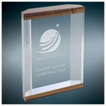 Wood Grain Top and Bottom Banded Capri Acrylic Achievement Awards