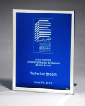 Glass Plaque with Blue Center and Mirror Border Achievement Awards