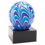 2 Tone Blue/White Sphere Art Glass Achievement Awards
