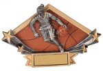 Female Basketball Diamond Plate Resin Trophy Basketball Trophy Awards
