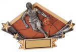 Male Basketball Diamond Plate Resin Trophy Basketball Trophy Awards