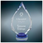 Crystal Diamond with Blue Base Blue Optical Crystal Awards