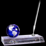 Blue Crystal Globe with Clear Base and Pen Blue Optical Crystal Awards