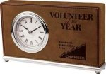 Dark Brown Leatherette Rectangle Desk Clock Boss Gift Awards