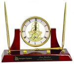 Executive Rosewood Piano Finish Clock/Desk Set Boss Gift Awards