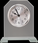 Clipped Corners Clear Glass Clock with Split Step Base Boss Gift Awards
