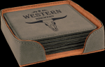 Gray Square Leatherette Coaster Sets Boss Gift Awards