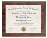 Cherry Finish Photo/Certificate Frame Plaque Certificate Plaques