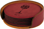 Rose' Leatherette Round Coaster Set Circle Awards