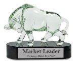Glass Bull with Black Crystal Base Award Clear Glass Awards