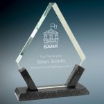 Diamond Premier Glass with Black Marble Base Clear Glass Awards