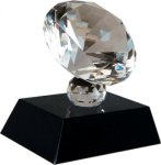 Crystal Clear Diamond on Black Crystal Base Clear Optical Crystal Awards