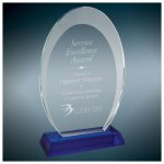 Oval Halo Glass Award With  Blue Base Cobalt Glass Awards