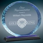 Oval Blue Accent Glass Cobalt Glass Awards