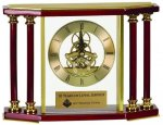 Executive 4 Pillar Rosewood Piano Finish Clock Desk Clocks
