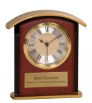 Gold Top Mahogany Finish Clock Desk Clocks