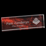 Red Marble Acrylic Name Bar Desk Wedge Name Plates