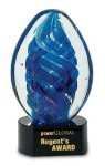 Blue Oval Swirl Art Glass Award Employee Awards