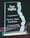 Clear or Jade Waterfall Edge Acrylic Award Employee Awards
