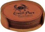 Rawhide Leatherette Round Coaster Set Employee Awards