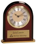 Mahogany Finish Arch Desk Clock Employee Awards