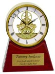Executive Clock on a Rosewood Piano Finish Base Employee Awards