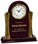 Piano Finish Desk Clock with Gold Metal Columns Employee Awards
