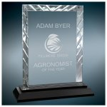 Rectangle Clear Premier Accent Glass Award on a Black Base Employee Awards