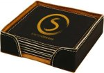 Black Square Leatherette Coaster Set Employee Awards