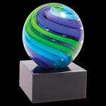 2 Tone Blue/Green Sphere Art Glass Employee Awards