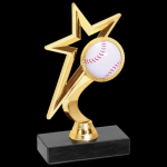 Gold Star Baseball Trophy Figure on a Base Trophies