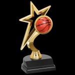 Gold Star Basketball Trophy Figure on a Base Trophies