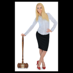 Extra Large Oak Gavel with Gold Brass Band Gavel and Sounding Blocks