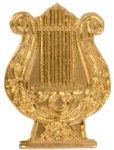 Gold Music Lyre Metal Chenille Letter Insignia Music Trophy Awards