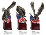 Hand Painted Resin Eagle Award with American Flag Patriotic Awards