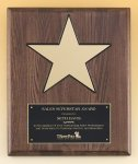 Walnut Stained Piano Finish Plaque with 8 Gold Star Recognition Plaques