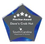 Clear/Blue Luminary Star Acrylic Award Sales Awards