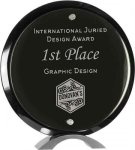 Black Piano Finish Round Acrylic Standup Sales Awards