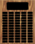 Walnut Finish Perpetual Plaque with Black Brass Plates Sales Awards