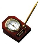 Piano Finish Rosewood Desk Clock with Pen Sales Awards
