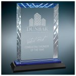 Rectangle Premier Accent Glass Award on a Black and Blue Base Sales Awards