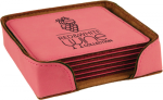 Pink Leatherette Square Coaster Set Sales Awards