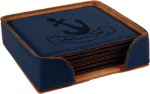 Blue  Leatherette Square  Coaster Set Sales Awards