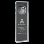 Clear Crystal Slanted Rectangle Award with Engraved Globe Sales Awards