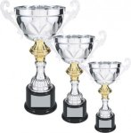 Silver Metal Loving Cup with Gold Accent Silver Cup Trophies