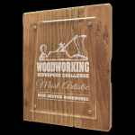 Reclaimed Wood Floating Acrylic Plaque with Magnetic Standoffs Square Rectangle Awards