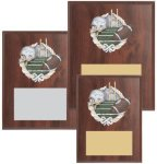 Cherry Finished Sports Plaque with Color Figure Teamwork Trophy Awards