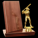 Cherry Finish Stand-Up Billboard Plaque Wood Metal Accent Awards